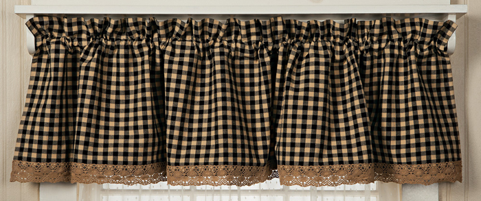 Classic Country Check & Crochet Valance