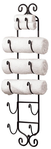 Iron Towel & Wine Bottle Wall Rack
