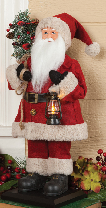 Lantern Santa With Cardinal Tree Sculpture | Decorating for Christmas