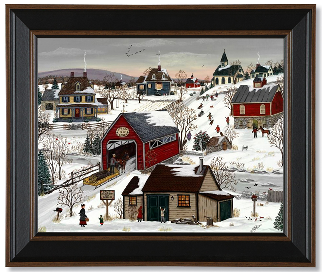 Late Afternoon Sledding Framed Print | Artist Sharon Ascherl