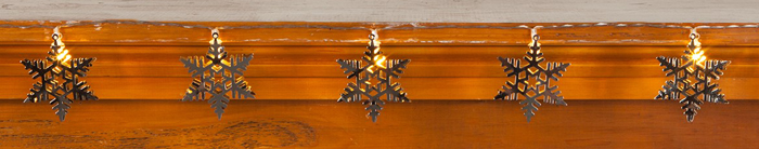 Silver Metal Snowflake String Lights