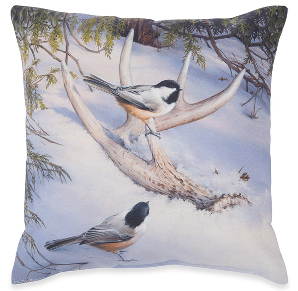Early Explorers Chickadees Pillow | Made in the USA | Joe Hautman | Sturbridge Yankee Workshop