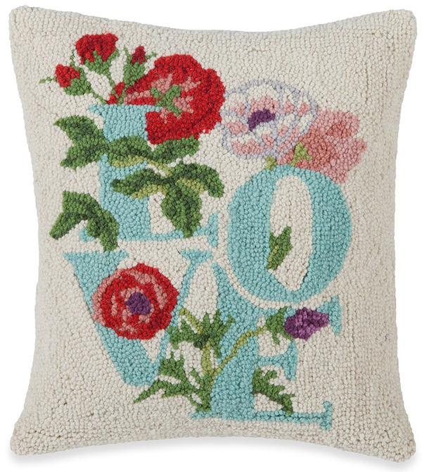 Love Flowers Hooked Wool Pillow | Mary Lake Thompson | Sturbridge Yankee Workshop