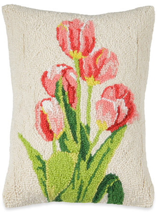 Pink Tulips Hooked Wool Pillow | Sturbridge Yankee Workshop