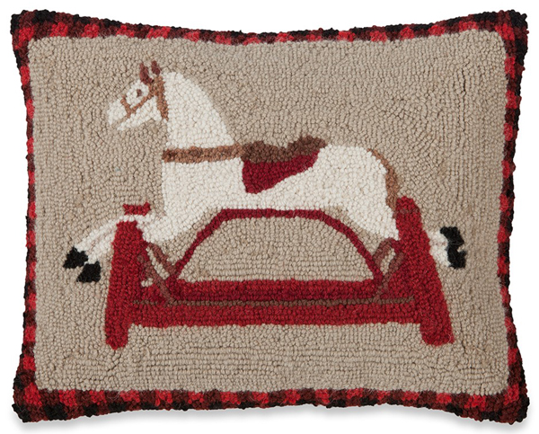 Spring Rocking Horse Hooked Wool Pillow | Sturbridge Yankee Workshop