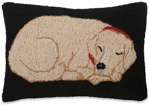 Yellow Lab Hooked Wool Pillow | Sturbridge Yankee Workshop