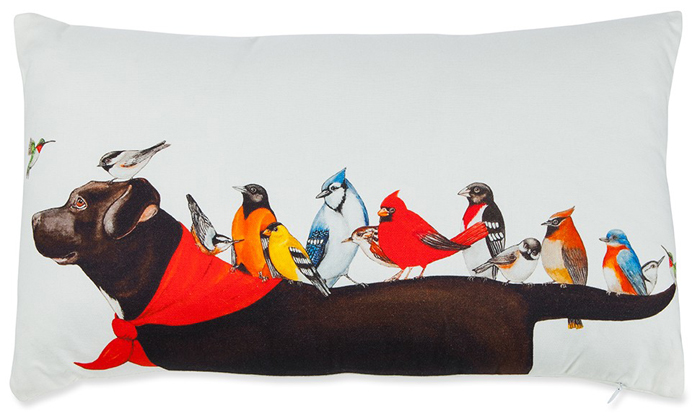 Lab & Birds Pillow | Sturbridge Yankee Workshop