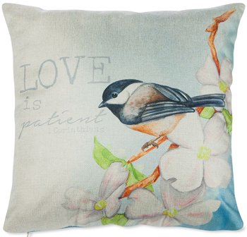 Love Is Patient Chickadee Pillow | Sturbridge Yankee Workshop