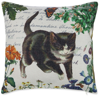 Vintage Black Cat Garden Pillow | Sturbridge Yankee Workshop