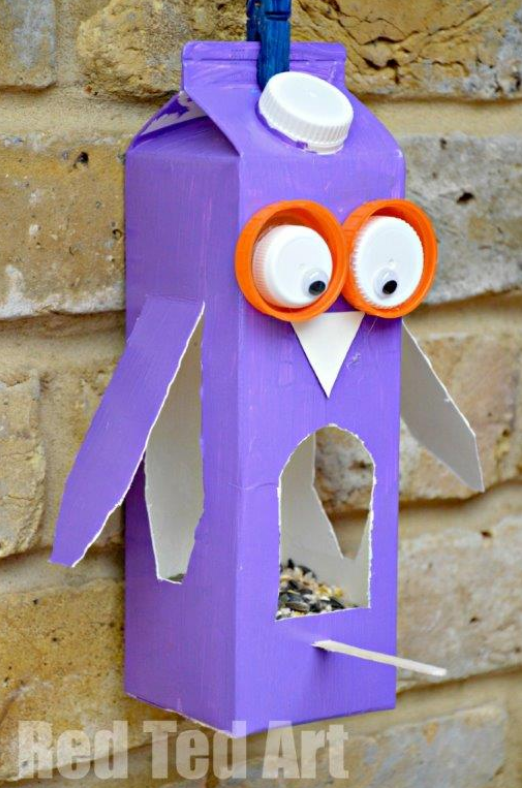 Juice Carton Crafts: Owl Bird Feeder | Red Ted Art | Spring DIY