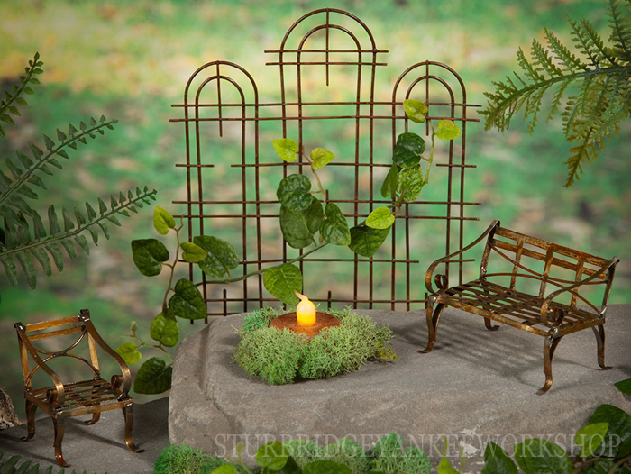 Miniature Fairy Garden Bench, Chair, Trellis | Sturbridge Yankee Workshop