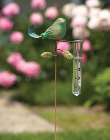 Teal Terracotta Bird Rain Gauge | Sturbridge Yankee Workshop