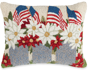 Flag and Daisies Pillow | Susan Winget | Sturbridge Yankee Workshop