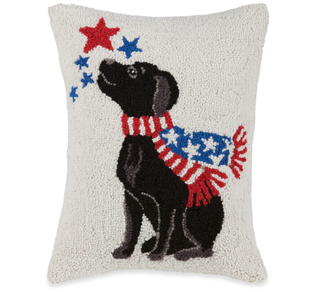Black Lab American Dog Pillow | Mary Lake Thompson | Sturbridge Yankee Workshop