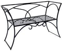 Wrought Iron Arbor Resting Bench with Back