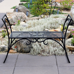 Wrought Iron Arbor Resting Bench