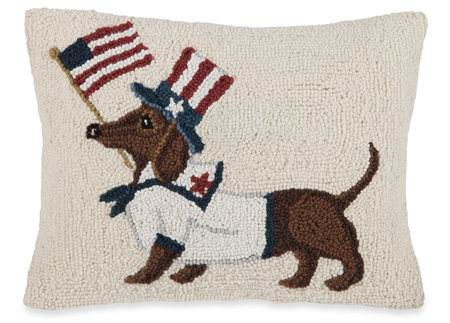 Patriotic Dachshund Hooked Wool Pillow | Dianna Swartz | Sturbridge Yankee Workshop