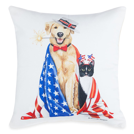 Patriotic Dog & Cat Pillow | Mary Lake Thompson | Sturbridge Yankee Workshop