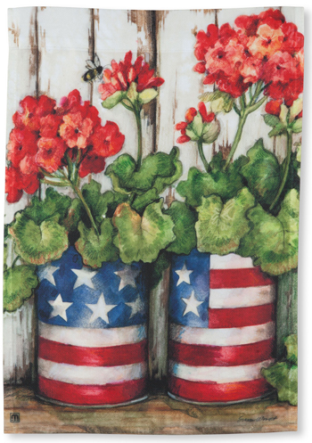 Potted Geraniums Garden Flag | Artist Susan Winget | Sturbridge Yankee Workshop