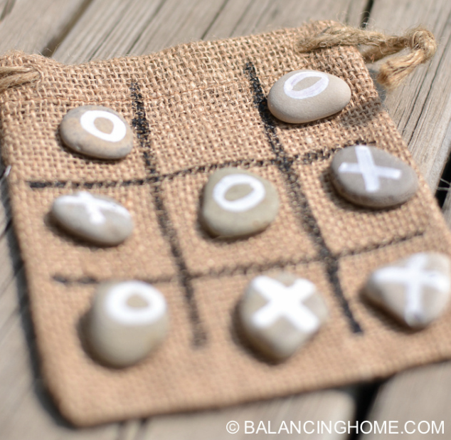 Tic Tac Toe Rocks Activity | Balancing Home | Summer DIY