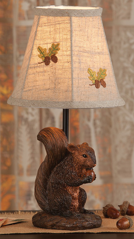 Embroidered Squirrel Accent Lamp