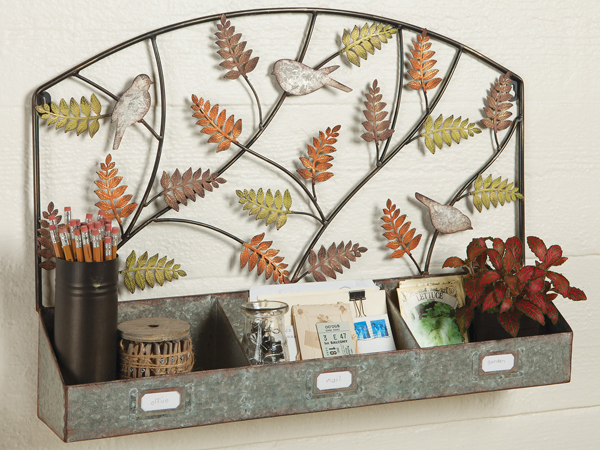 Metal Birds & Ferns Wall Organizer | Sturbridge Yankee Workshop