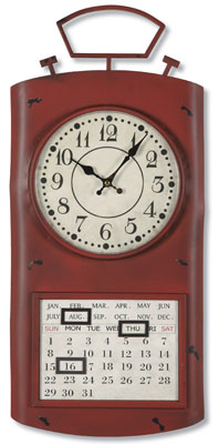 Red Metal Perpetual Calendar Clock | Sturbridge Yankee Workshop