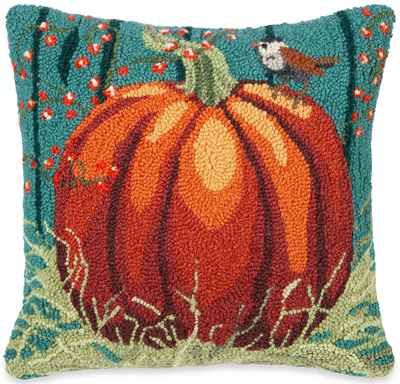 Pumpkin Bird Hooked Wool Pillow | Sturbridge Yankee Workshop