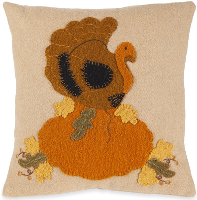 Turkey & Gourd Felt Applique Pillow | Sturbridge Yankee Workshop