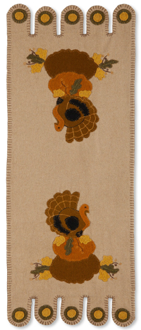 Turkey & Gourd Felt Applique Table Runner | Sturbridge Yankee Workshop