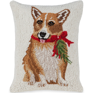 Corgi with Juniper Hooked Wool Pillow | Mary Lake Thompson | Sturbridge Yankee Workshop