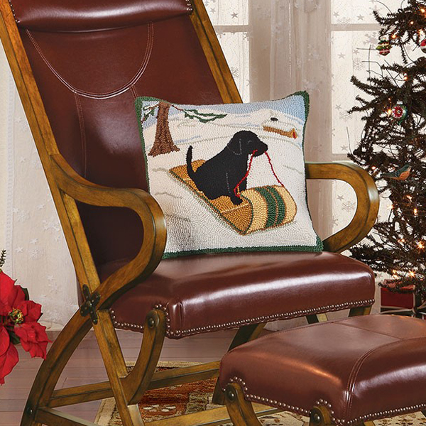 Sledding Black Lab Hooked Wool Pillow | Sturbridge Yankee Workshop