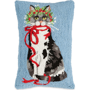 Ribbon Kitty Hooked Wool Pillow | Mary Lake Thompson | Sturbridge Yankee Workshop