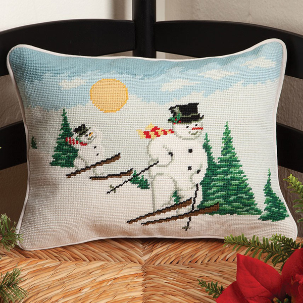 Skiing Snowman Needlepoint Pillow | David Carter Brown | Sturbridge Yankee Workshop