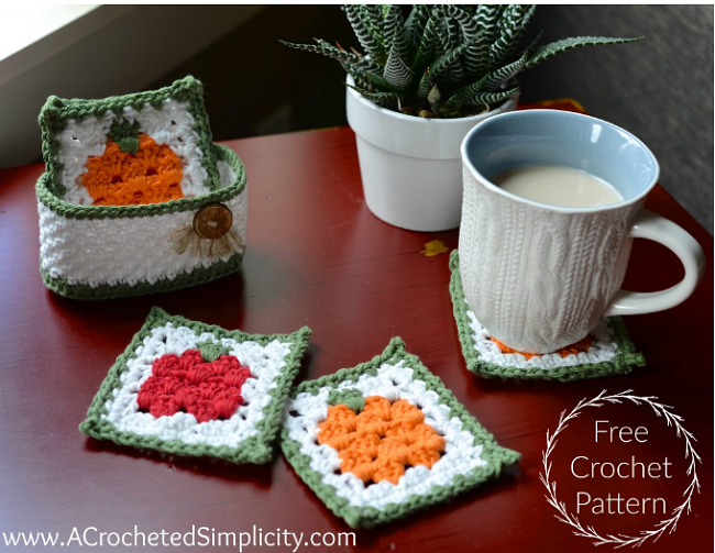 Free Crochet Pattern – Fall Harvest Coaster Set | A Crocheted Simplicity Blog