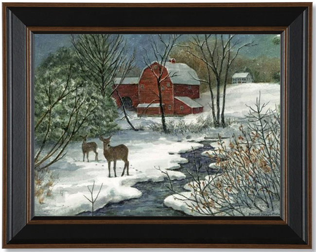 Deer In Snow Framed Print | Artist Bonnie Fisher | Sturbridge Yankee Workshop
