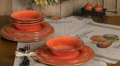 Harvest Melamine Dinnerware | Forged Loop 5PC Flatware Set | Pumpkin Wagon Salt & Pepper Set | Sturbridge Yankee Workshop