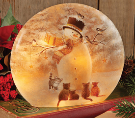 Snowman & Kittens Accent Light | Sturbridge Yankee Workshop