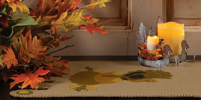 Turkey & Gourd Felt Applique Table Runner | Turkey Leaf Candle Holder | Sturbridge Yankee Workshop