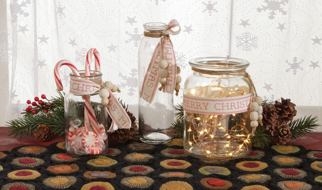 Christmas Ribbon Glass Jars | Christmas Clearance | Sturbridge Yankee Workshop