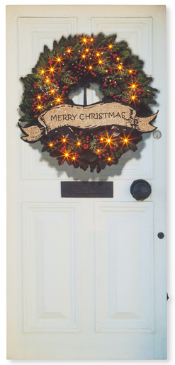 Front Door Wreath Lighted Canvas Print | Christmas Clearance | Sturbridge Yankee Workshop