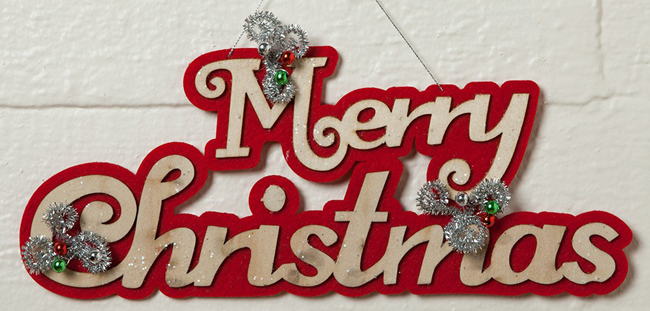 Merry Christmas Felt & Wood Sign | Christmas Clearance | Sturbridge Yankee Workshop