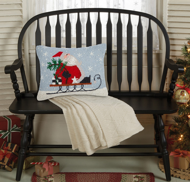 Blue Santa Sleigh Hooked Wool Pillow