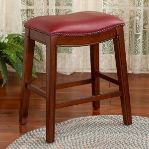 Contoured Upholstered Saddle Stool | Red | Sturbridge Yankee Workshop