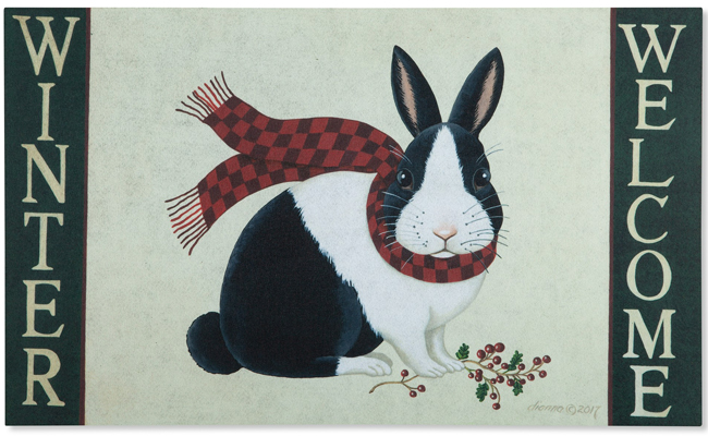 Winter Bunny Doormat | Artist Dianna Swartz | USA | Sturbridge Yankee Workshop