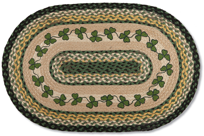 Green Shamrock Braided Jute Rug | Artist Harry Smith | Sturbridge Yankee Workshop