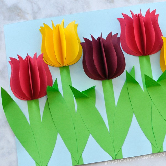 3D Paper Tulip Flowers | I Heart Crafty Things | Spring Crafts