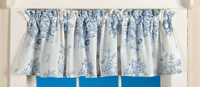 Blue Belle Curtain Valance | Spring 2019 | Sturbridge Yankee Workshop