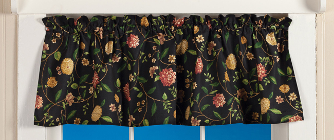 Black Floral Curtain Valance | Spring 2019 | Sturbridge Yankee Workshop