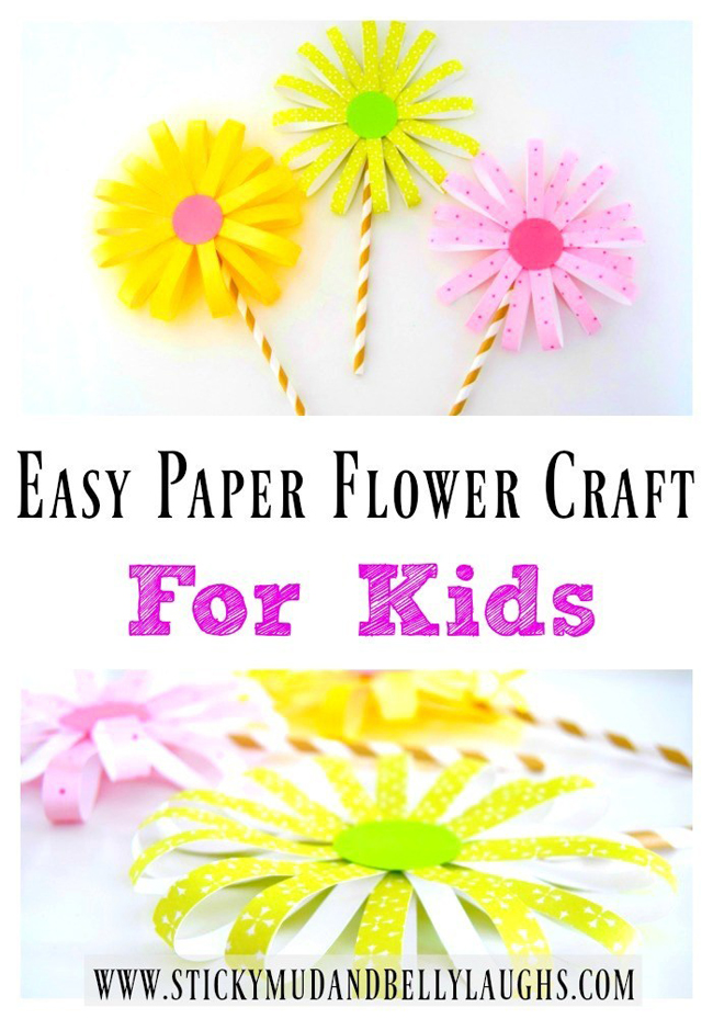 Easy Paper Flower Craft | Sticky Mud and Belly Laughs | Spring 2019